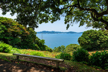 Bench On The Island Park, View On The Sea