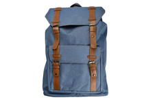 Canvas Backpack Accessories Isolated Hipster Background White. Blue With Brown Bag. Hand Made Backpack For Travelers.