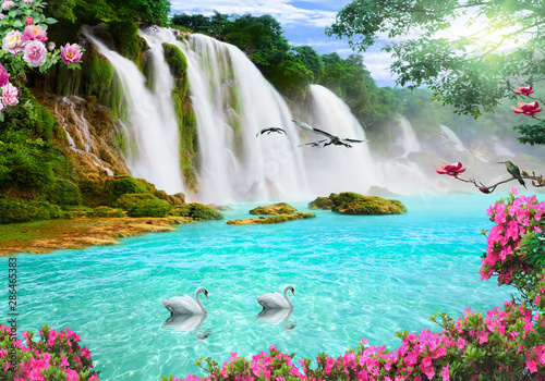 Aluminium Prints Waterfalls 3d background nature wallpaper