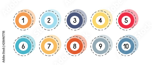 Photographie Number bullet points retro circles 1 to 10