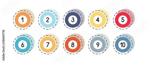 Fotografia Number bullet points retro circles 1 to 10