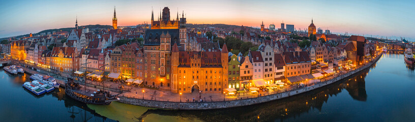 Panorama of the old town in Gdansk at dusk, Poland.