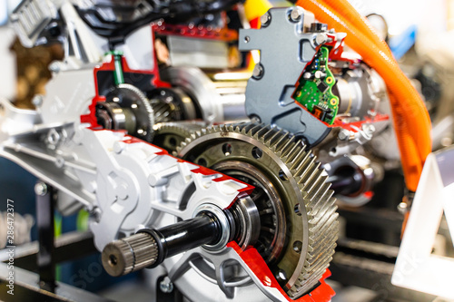 Fotografie, Obraz  Engine sprocket And electronic circuit boards for control