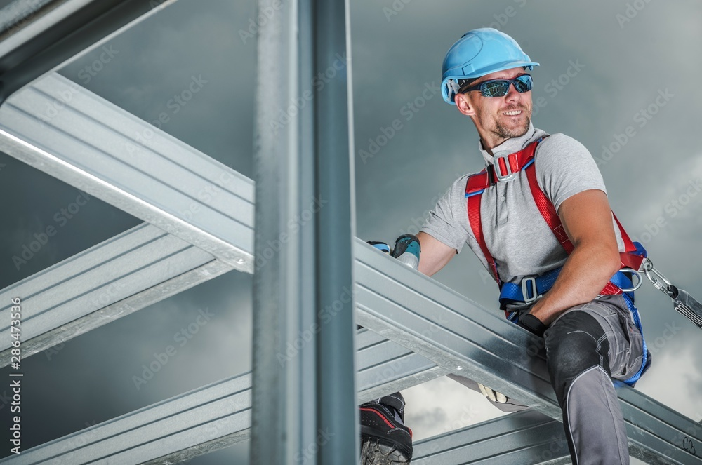 Fototapety, obrazy: Smiling Construction Contractor