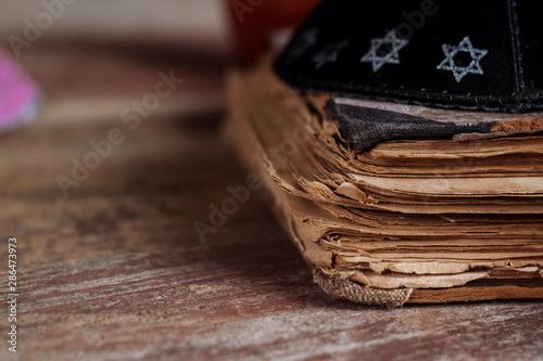 Jewish tradition religion celebration holiday Orthodox Jewish prays at the prayi Canvas Print