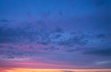 Dramatic Cloudy Sunset Sky Blue Hour Abstract Background