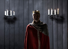 Portrait Of The Old Medieval King By Candlelight