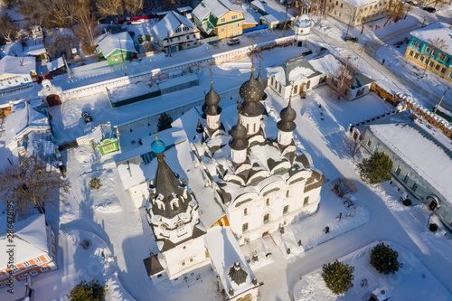 Photo Annunciation Monastery in Murom, Russia. Aerial winter drone view