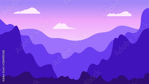 Fotobehang Violet Vector landscape in trendy flat simple style. Nature background with gradient sky, mountains and forest