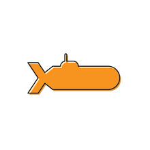 Orange Submarine Icon Isolated On White Background. Military Ship. Vector Illustration