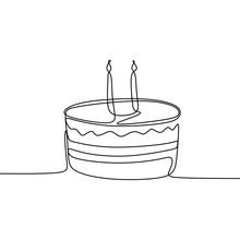 Single Line Drawing Birthday C...