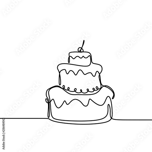 Continuous line drawing Birthday cake with candle Fotobehang