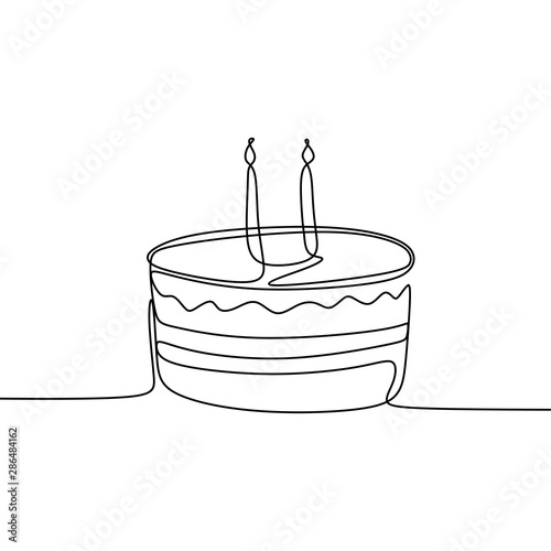Miraculous Single Line Drawing Birthday Cake Minimalism Design Vector Funny Birthday Cards Online Alyptdamsfinfo