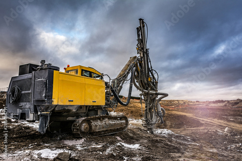 Obraz Rock and stone drilling in a building site - fototapety do salonu