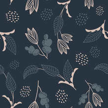 Dark Blue Vector Flowers And Plants  Pattern