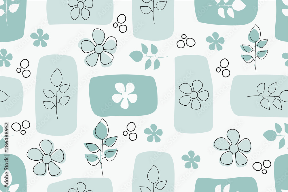 Seamless pattern with flowers and leaves in scandinavian style. Vector hand drawing in pastel colors. For the design of the background, fabric, wallpaper, cover, packaging, wrapper, wall.