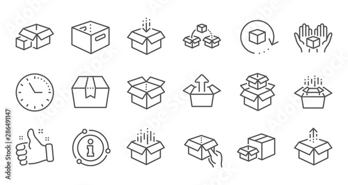 Obraz Box line icons. Package, delivery boxes, cargo box. Cargo distribution, export boxes, return parcel icons. Shipment of goods, open package. Linear set. Quality line set. Vector - fototapety do salonu