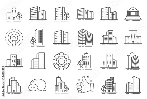 Buildings line icons. Bank, Hotel, Courthouse. City, Real estate, Architecture buildings icons. Hospital, town house, museum. Urban architecture, city skyscraper, downtown. Line signs set. Vector
