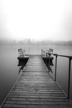 Tranquil And Foggy Lake Black ...