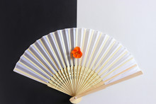 Decorative White Hand Fan On B...