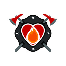 Fire Fighting Vector Logo. Firefighter Icon And Symbol. Eps 10.