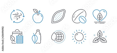 Set of Nature icons, such as World water, Soy nut, Water bottle, Apple, Local grown, Bio shopping, Cocoa nut, Sunny weather, Wind energy, Fair trade line icons Wallpaper Mural