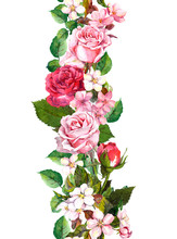 Floral Border With Apple, Sakura, Cherry Flowers Blossom, Roses Flowers. Watercolor Seamless Frame