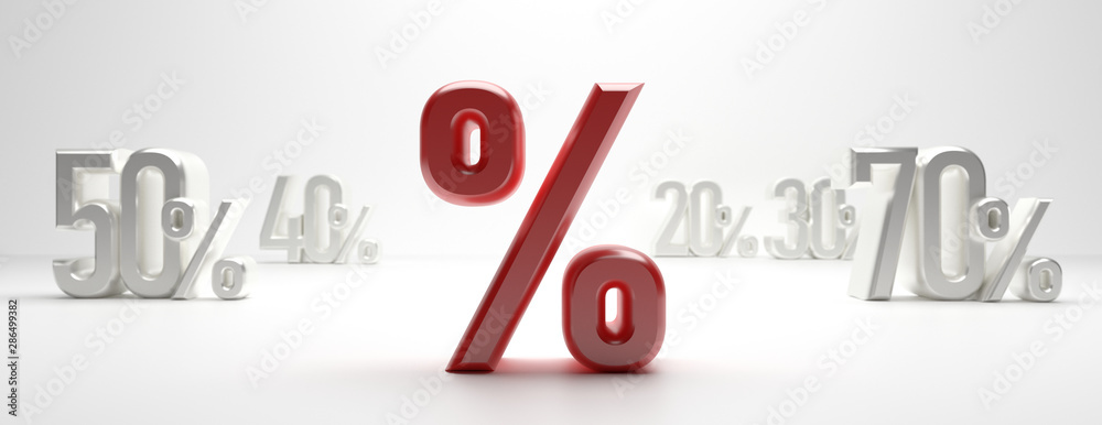 Fototapety, obrazy: Sale percent discount % text on white background. clearance sale % concept. 3d illustration
