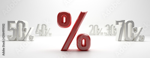Fotomural  Sale percent discount % text on white background