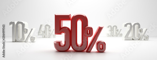 Fototapeta Sale 50%. 50 percent discount text on white background, banner. 3d illustration obraz