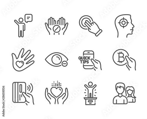 Fototapeta Set of People icons, such as Education, Winner podium, Touchscreen gesture, Medical tablet, Hold heart, Social responsibility, Myopia, Contactless payment, Agent, Bitcoin pay, Couple. Vector obraz na płótnie