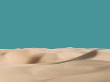Abstract Pure Sand Dunes In Desert Under Blue Empty Sky