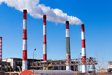 Factory Plant Smoke Stack Over...