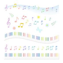 音符 鍵盤 カラフル  / Vector Eps 10