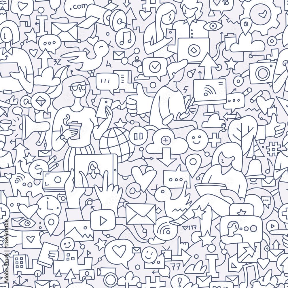 Fototapeta Social Media Seamless Doodle Pattern