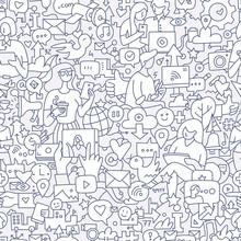 Social Media Seamless Doodle Pattern