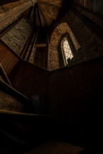 Derelict Spiral Stairwell   Stained Glass Window - Intricate Gothic Revival Architecture - Abandoned St. Joseph Church - Albany, New York