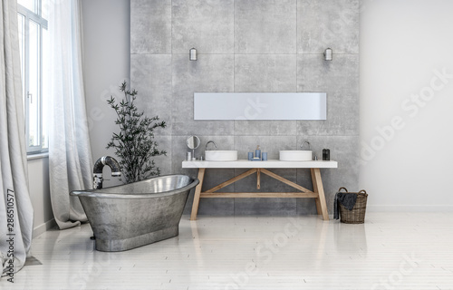 Hipster bathroom interior with metal bathtub Canvas Print