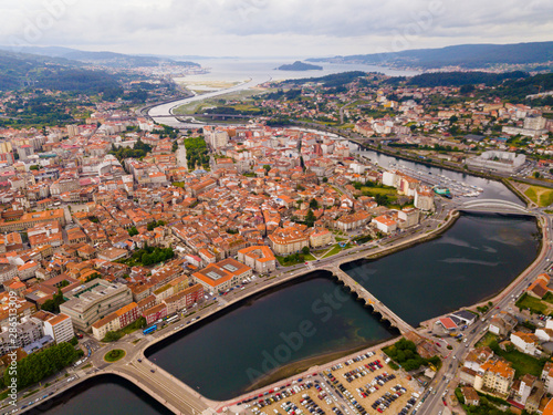 Pontevedra cityscape with a modern apartment buildings and sea bay