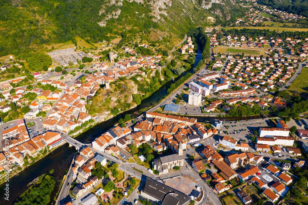 Fototapeta General aerial view of Tarascon-sur-Ariege - obraz na płótnie