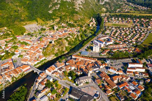 Fototapeta General aerial view of Tarascon-sur-Ariege obraz na płótnie
