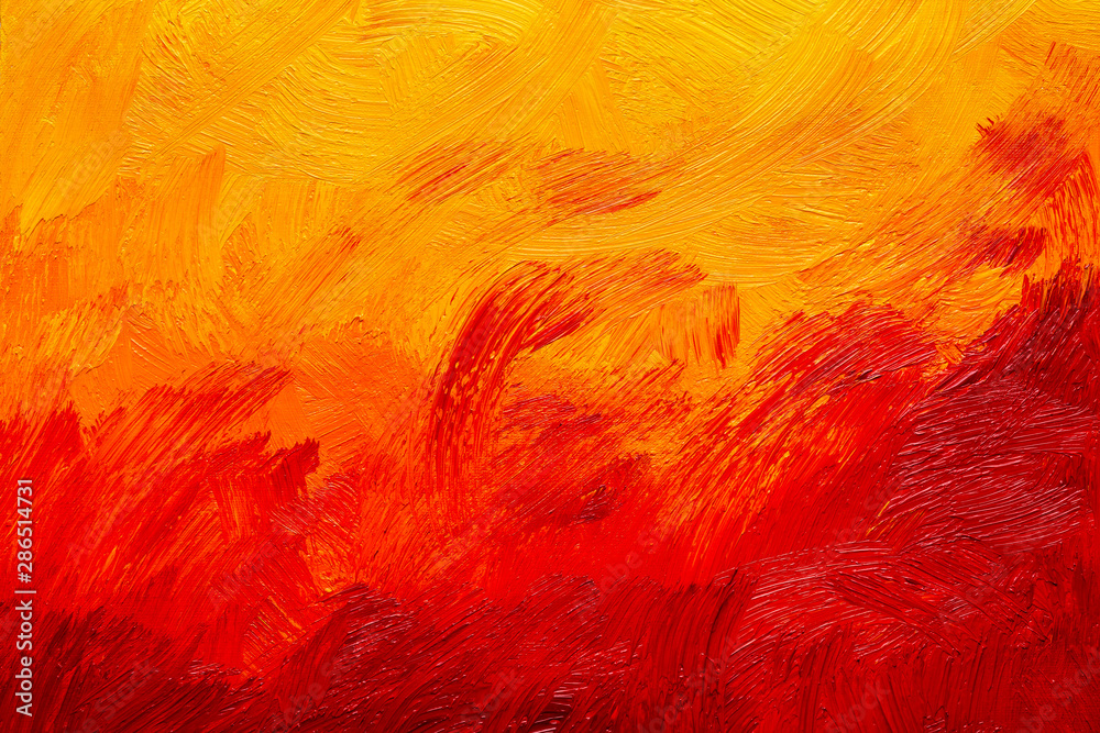 Fototapety, obrazy: Abstract red, orange and yellow oil painting brush strokes