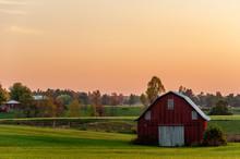 Red Farm Barn - Sunset - Bluegrass Region Of Kentucky