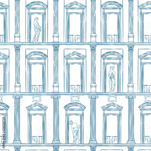 Vector seamless pattern of ancient facade with columns and statues Wallpaper Mural