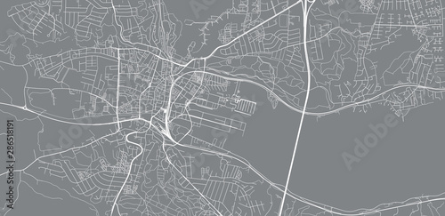 Urban vector city map of Vejle, Denmark Canvas Print