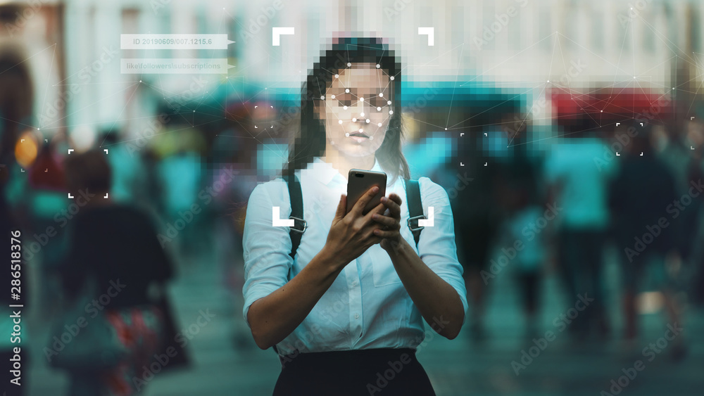 Fototapeta Smart technologies in your smartphone, collection and analysis of big data