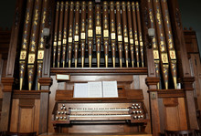 Closeup Of An Old Pipe Organ In A Church.