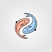 Yin Yang Fresh Fish Logo Label Packaging Vector Seafood Illustration