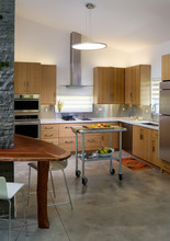 Kitchen In Solar Home With Fruit And Breakfast On Metal Cart