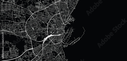 Fotomural Urban vector city map of Aarhus, Denmark